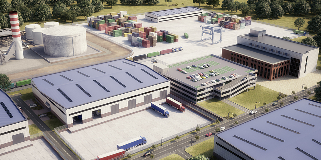 industrial estate, business park, factory, freight terminal, container depot, cgi; Property CGI; housing cgi; architectural illustration; architectural visualisation; architectural visuals; artists impressions; 3D; product model; product modelling; birmingham; staffordshire; midlands
