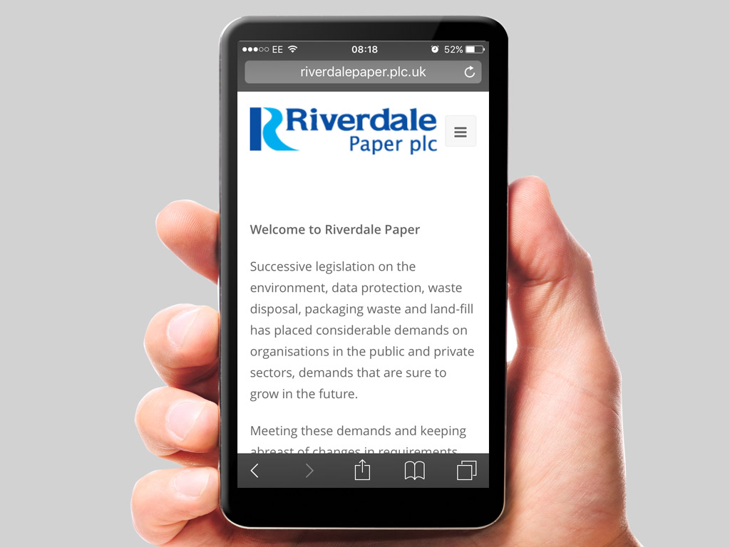 Riverdale responsive website mobile phone